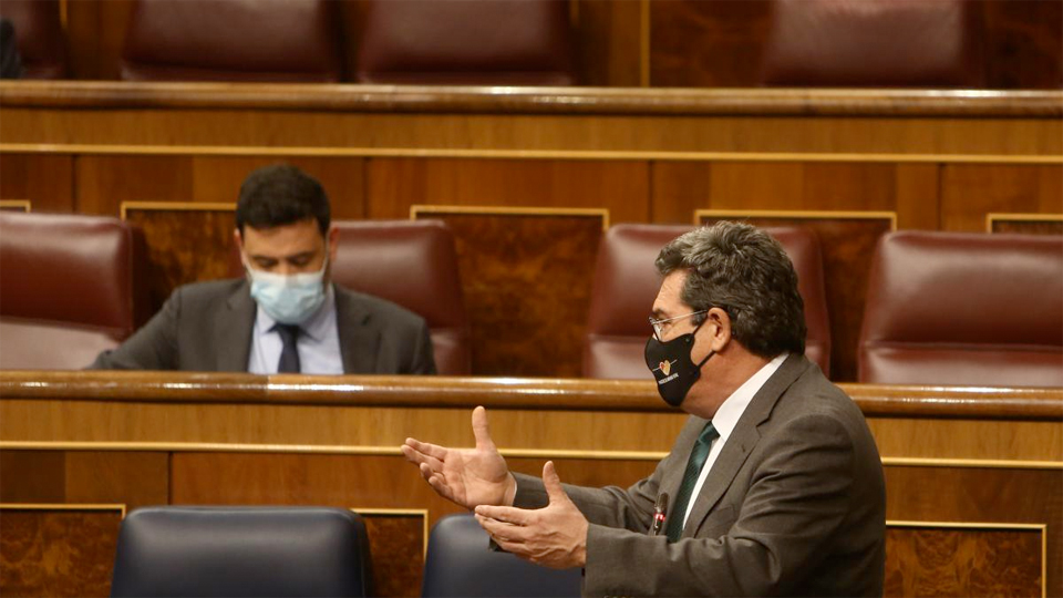 El ministro de Inclusión y Seguridad Social, José Luis Escrivá, en el Congreso de los Diputados