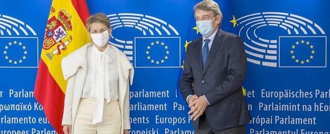 Yolanda Díaz, ministra de Trabajo, en su visita a Bruselas