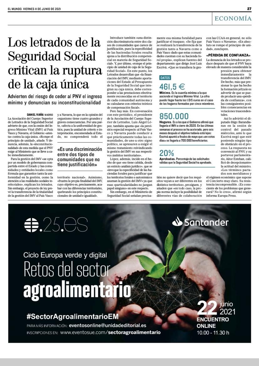 Página del periódico El Mundo de viernes 11 de junio de 2021